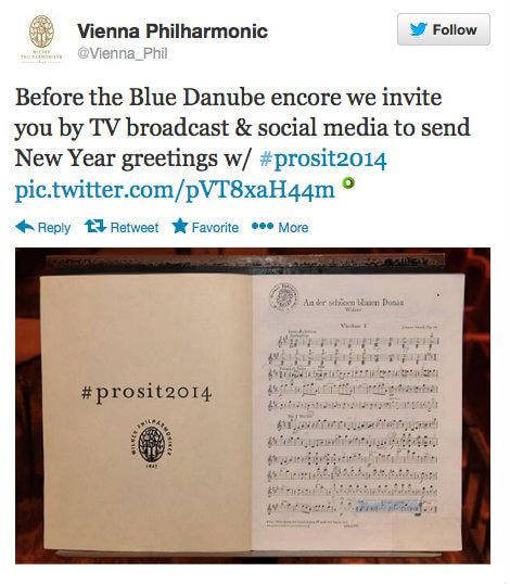 Vienna Philharmonic Twitter New Year's Concert Tweet #prosit2014