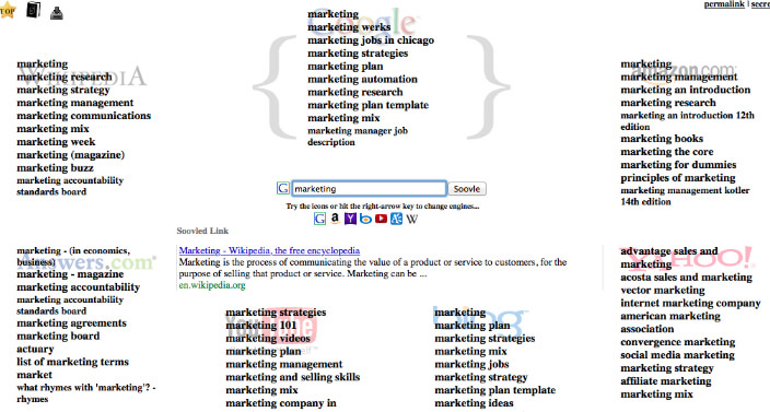 Online marketing weapons - Soovle Keyword Tool