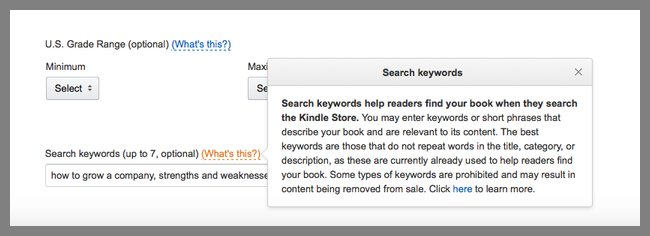 Kindle Marketing Tips - Search keywords