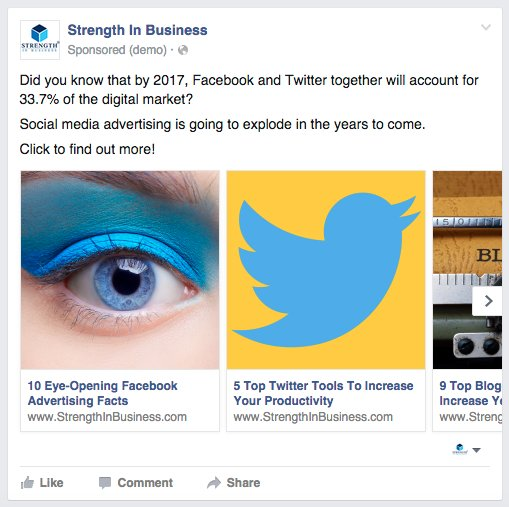 Facebook Carousel Ads StrengthInBusiness Top Blogs