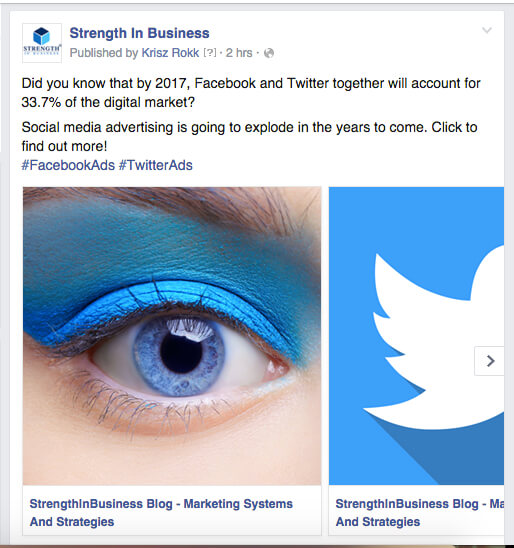 Facebook Carousel Format StrengthInBusiness Example