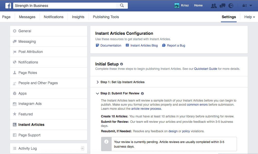 StrengthInBusiness Facebook Instant Articles Submission